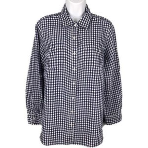 Talbots Linen Gingham Blouse Roll-Tab Sleeve 1XP